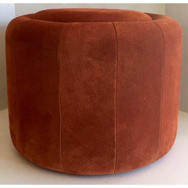Vintage 1970s Orange Suede Stool - Image 3 of 8