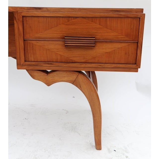 Giuseppe Scapinelli Scapinelli 1960s Brazilian Caviuna Console Table Desk For Sale - Image 4 of 9