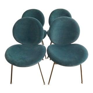 Mid-Century Modern West Elm Jane Velvet Dining Chairs - Set of 4 For Sale