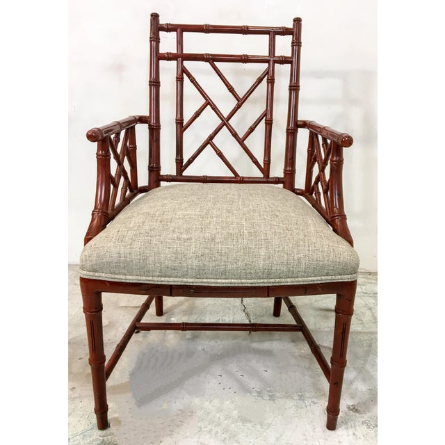 Century Faux Bamboo Chairs - Set of 10 For Sale - Image 5 of 7