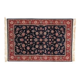 Leon Banilivi Navy Persian Kashan Wool Rug - 4' X 6' For Sale