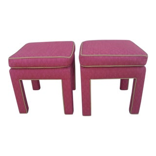 Milo Baughman Parson Pink Ottomans - a Pair For Sale