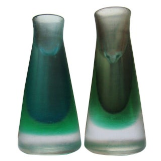1950s Venini Murano Glass Candleholders - a Pair For Sale