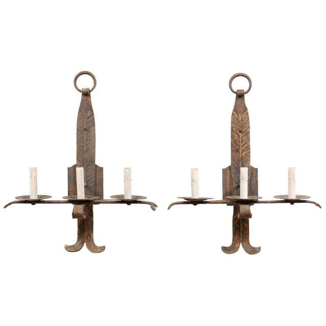 French Mid-Century Three-Light Iron Sconces - a Pair For Sale - Image 12 of 12