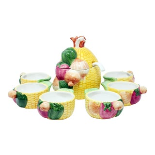 Corn Soup Tureen With 6 Bowls - Set of 7