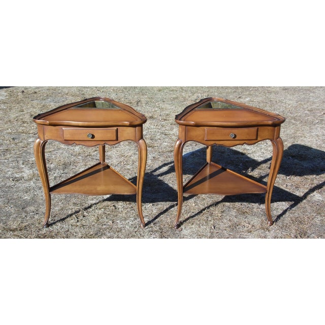 Vintage French Style Leather Top Triangle End Tables - A Pair For Sale - Image 10 of 12