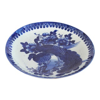 Antique 19th C. Japanese Meiji Period Blue & White Peacock Platter For Sale
