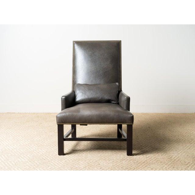 Leather upholstered chair Fabric: Manhattan Pewter (4) 100% Leather Jute webbing back Oak frame, black walnut finish Back...