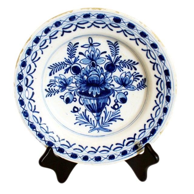 1820s Delft White & Blue Floral Un Soup Plate For Sale