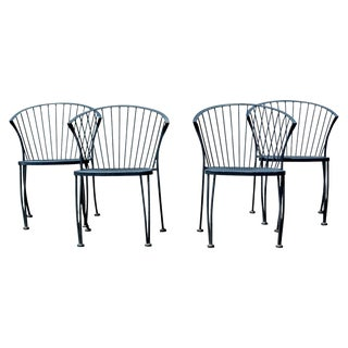 Mid-Century Modern Woodard Set of 4 Curved Klismos Patio Side Chairs, 1960s For Sale