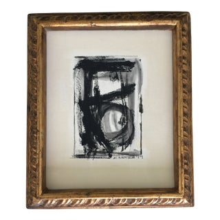Abstract Black and White Charcoal and Ink Vintage Frame For Sale