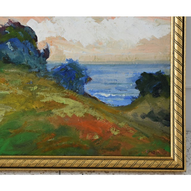 Late 20th Century Juan Guzman Plein Air California Seascape Landscape Painting For Sale - Image 5 of 10