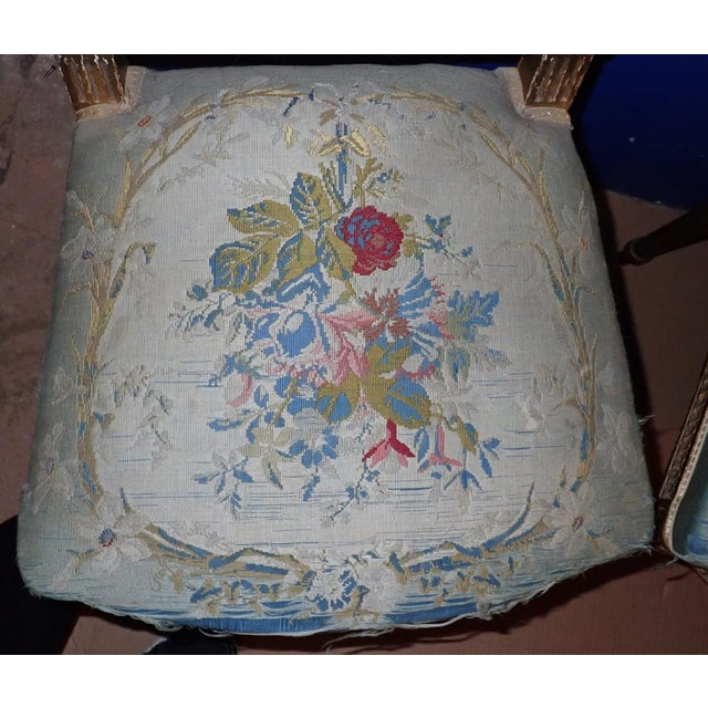 Blue Mid 19th Century Louis XVI Petit Point Embroidered Chairs- A Pair For Sale - Image 8 of 11
