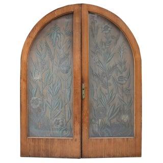 Pair of Art Nouveau Etched Glass Doors