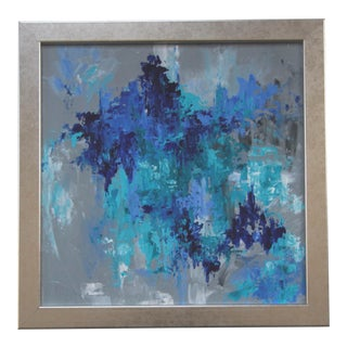 Abstract Blue Textured Painting by Celeste Plowden For Sale