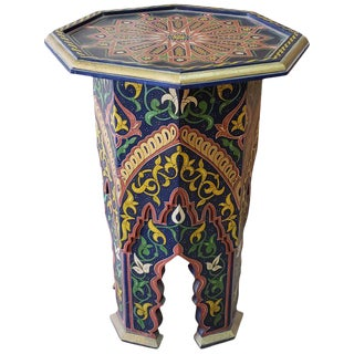 Moroccan Welja Carved Side Table For Sale