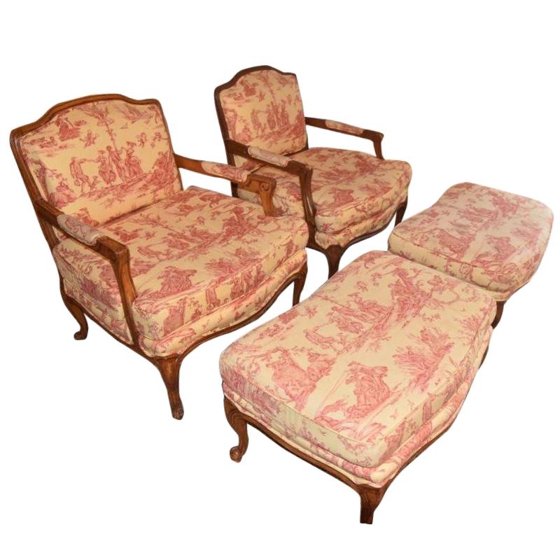 Beau Pierre Deux Louis XV Chairs U0026 Ottomans   A Pair