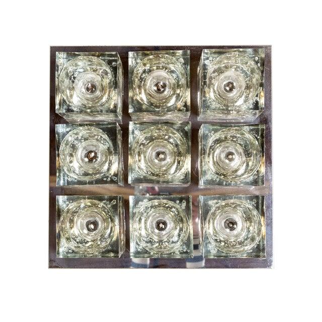 Lightolier Glass Blocks 9-Light Flush Mount For Sale