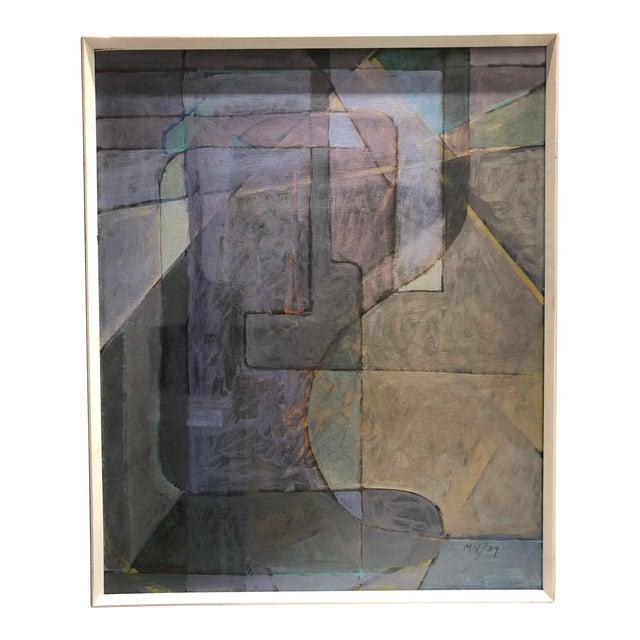 "1980s Vintage Mariko Nutt ""Wine Bottles Series IV"" Abstract Modern Oil Painting For Sale"