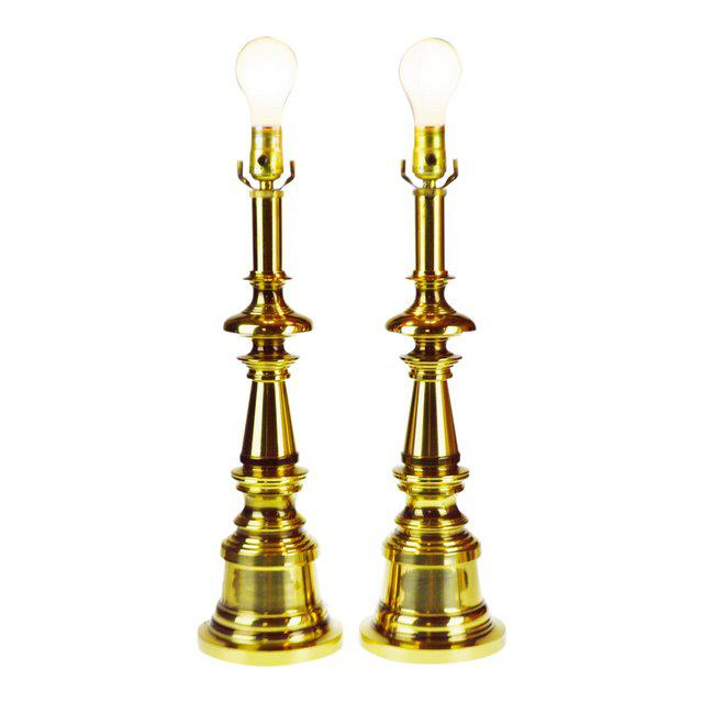 Vintage Brass Candlestick Table Lamps - a Pair For Sale - Image 13 of 13