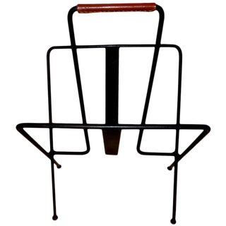 Vintage Jacques Adnet Magazine Rack For Sale