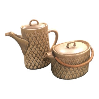 Kronjyden Raymor Jens H. Quistgaard Green Leaf Relief Coffee & Tea Pots - a Pair For Sale
