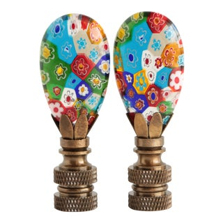 Millefiori Glass Lamp Finials on Antiqued Brass Bases - a Pair For Sale