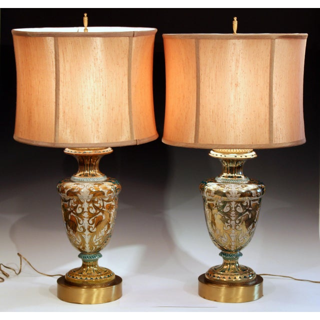 Great pair of Robbia Pottery Gualdo Tadino luster majolica lamps, circa 1930's. With pairs of gargoyles front and back...