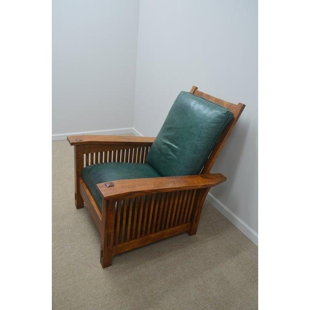 Stickley Oak Mission Morris Chair W/ Ottoman For Sale In Philadelphia - Image 6 of 13
