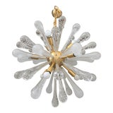 Image of Chandelier Sputnik Brushed Gold Murano Glass For Sale