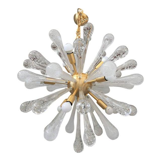 Chandelier Sputnik Brushed Gold Murano Glass For Sale