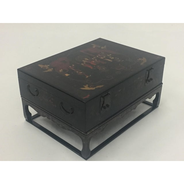 Asian Black Laquer Box on Custom Stand Coffee Table For Sale - Image 13 of 13
