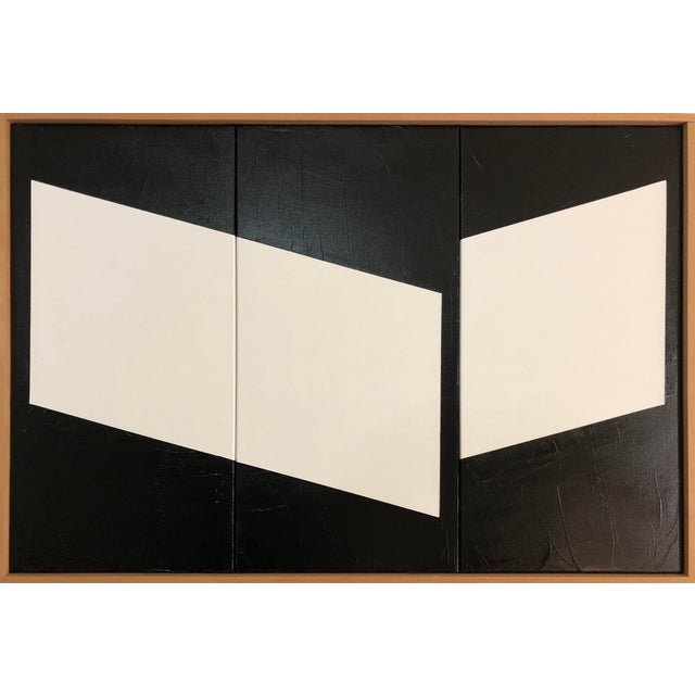 """2010s Original Acrylic Painting """"White Disjointed Triptych Jet0586"""" For Sale - Image 5 of 5"""