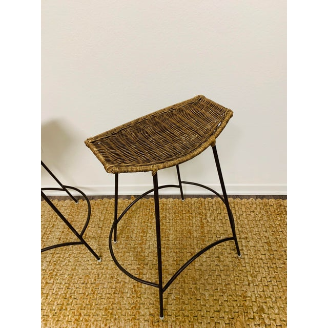 Late 20th Century Mid-Century Modern Wrought Iron and Wicker Bar Stools by Arthur Umanoff - a Pair For Sale - Image 5 of 9