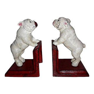 Rustic Cast Iron Bull Dog Bookends - a Pair For Sale