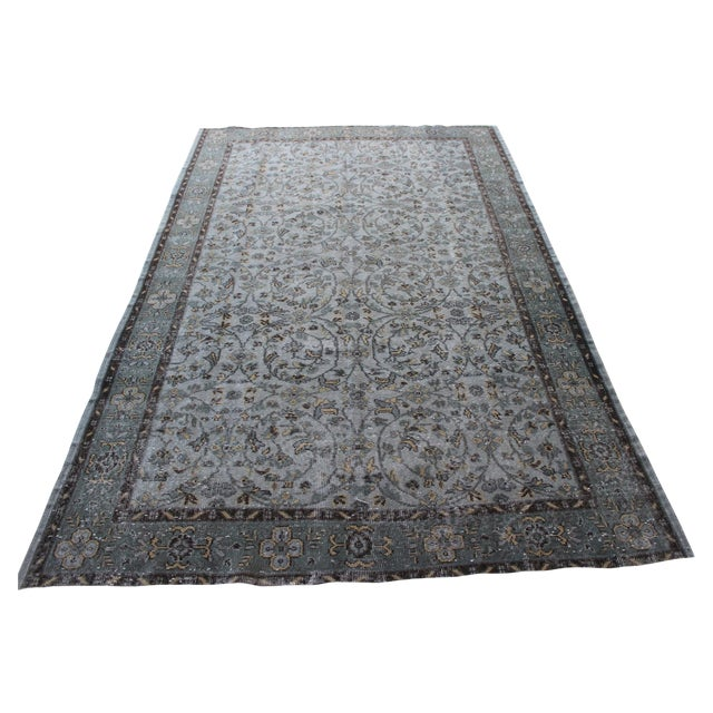 "Vintage Gray Turkish Over-Dyed Rug - 6' x 9'3"" - Image 1 of 10"