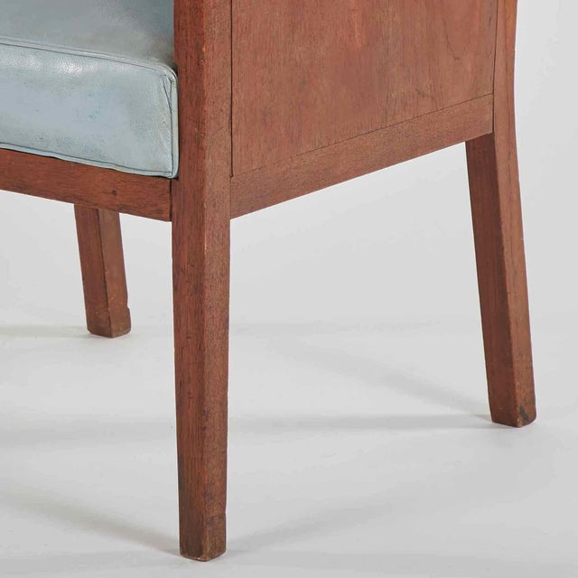 Art Deco Art Deco Wooden Armchair Upholstered in Blue Leather From France For Sale - Image 3 of 5