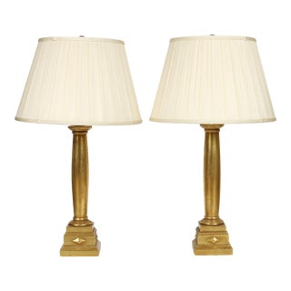 Giltwood Column Form Lamps - a Pair For Sale