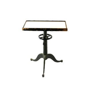 1920s Optical Milk Glass Top Cast Iron Table For Sale