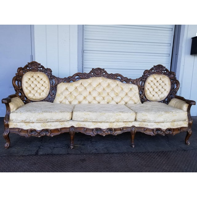 Stunning Carved Wood Vintage Sofa Ornately Carved Frame with Ivory/White Floral Brocade Upholstery In excellent condition...