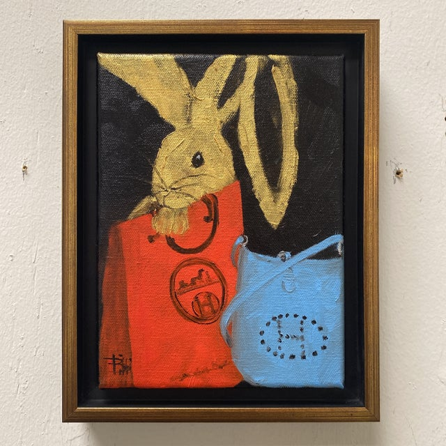 """Bunny With Blue Hermès"" Contemporary Acrylic Painting, Framed For Sale - Image 11 of 11"
