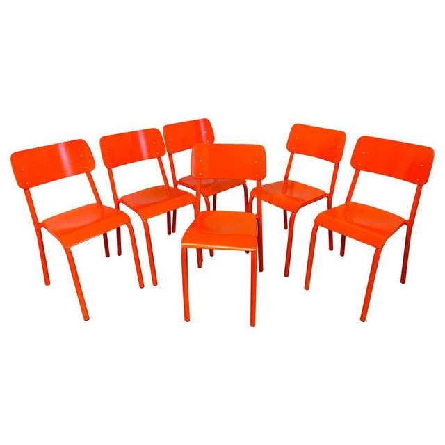 Declercq Mobilier Modern Ml45 Neon Red Chairs - Set of 6 For Sale - Image 13 of 13