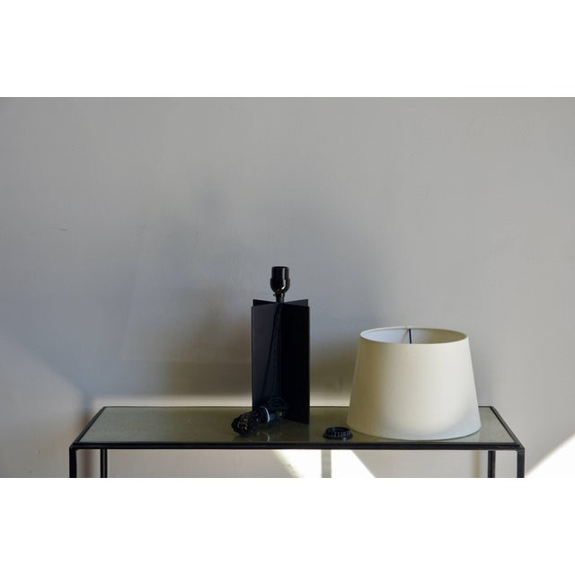 "Not Yet Made - Made To Order Contemporary Design Frères ""Croisillon"" Matte Black Steel and Parchment Lamps - a Pair For Sale - Image 5 of 9"