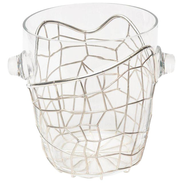 Italian Pampaloni Sterling Silver & Glass Sculptural Ice/Champagne Bucket For Sale