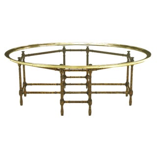 Baker Tortoise Shell Lacquered Stylized Bamboo and Round Glass Tray Coffee Table
