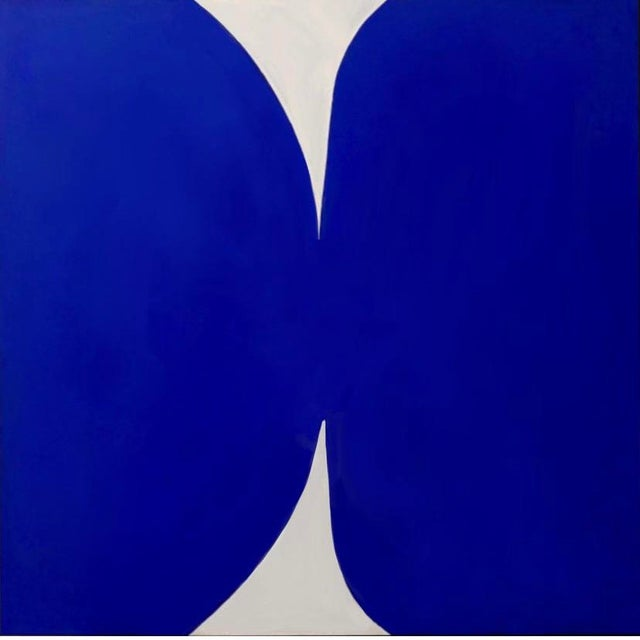 """Mid-Century Modern """"Klein Blue and White"""" Contemporary Abstract Acrylic Painting, Framed For Sale - Image 3 of 5"""