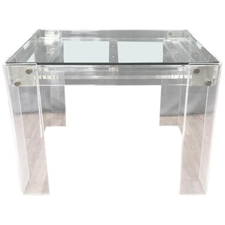 Lucite and Brass Backgammon Game Table in the Manner of Charles Jones For Sale
