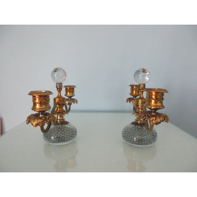 Baroque Pairpoint Gilt Metal and Bubble Glass Candelabras - A Pair For Sale - Image 3 of 13