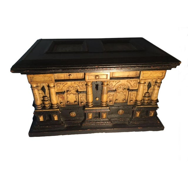Wood 17th Century Alabaster and Ebonised Wood Casket Malines Coffer For Sale - Image 7 of 7