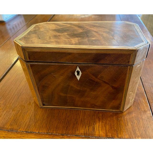 """Wonderful Octagonal Wooden Tea Caddy 7.5"""" Wide x 4"""" Deep x 5.5"""" High"""